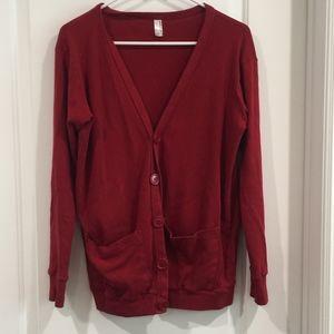 American Apparel Red Long Cardigan XS/S